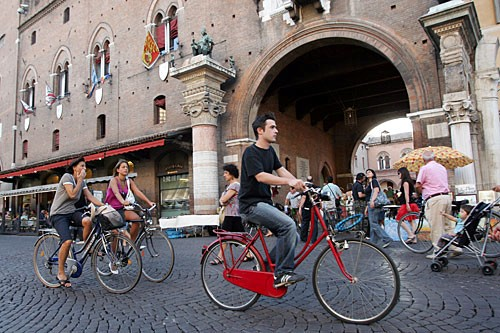 Bicycles outnumber cars on the streets of Ferrara--unusual for an Italian city.