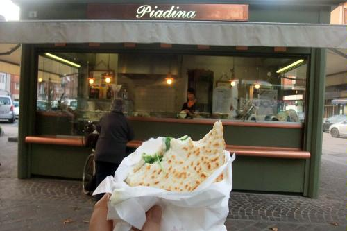 Piadina in Piazza Mameli in Ravenna, Italy.