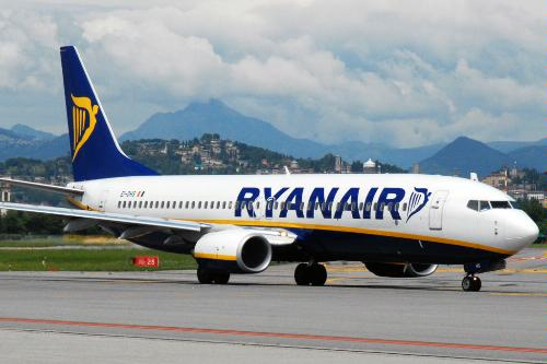 A Ryanair flight on the runway at Orio al Serio Airport, Bergamo, Italy.