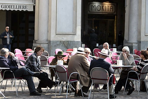 Piazza San Carlo is home to Turin's grandest street cafes, including Caffè San Carlo.
