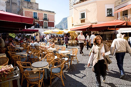 La Piazzetta shows its best side after the day-trippers have left Capri town.