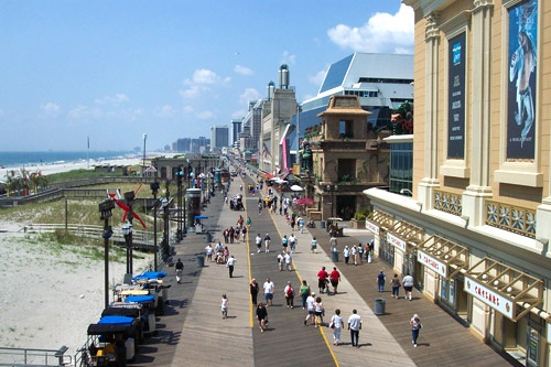 The Atlantic City Boardwalk is lined with shops, restaurants, food stands, casinos and more. Photo courtesy Atlantic Convention & Visitors Bureau