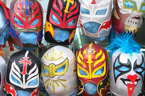 Mexican wrestling masks for sale in Playa del Carmen, Mexico