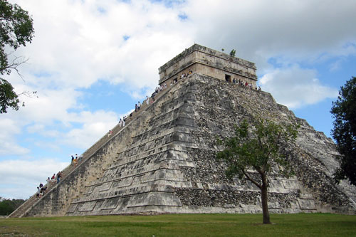 Sideview-El Castillo at Chichen-Itza, Mexico