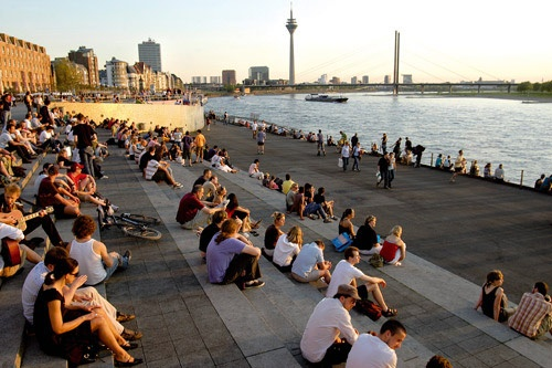 Steps overlooking the Rhine River, Dusseldorf. Photo: Dusseldorf Marketing & Tourismus GmbH