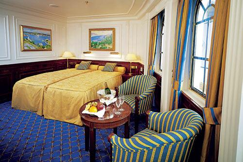 A deluxe outer cabin aboard Sea Cloud II.