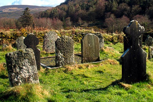 Graves at Saint Kevin's Monastery in Glendalough.
