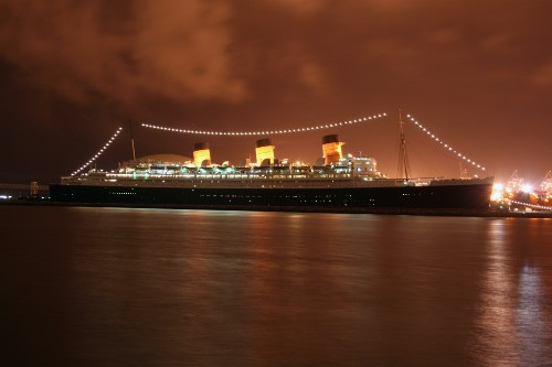 The Queen Mary ship at night in Long Beach, California