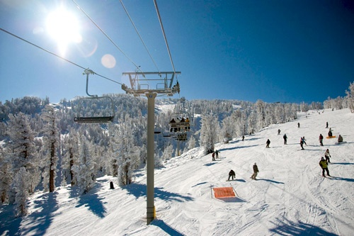 A sunny day at Heavenly Mountain Ski Resort, Lake Tahoe.
