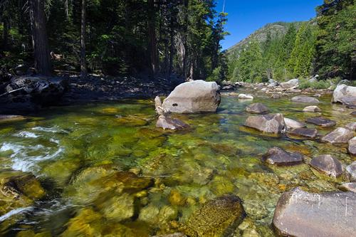Crystal clear water flows through the Kings River, King's Canyon National Park