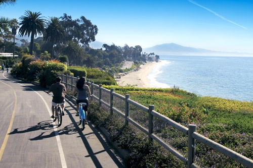 The Four Seasons Santa Barbara Resort offers complimentary beach cruiser bicycles for its guests. Photo: Courtesy Four Seasons Resort The Biltmore Santa Barbara