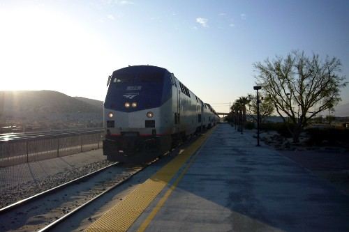 "Amtrak's Sunset Limited, which travels between Tuscon and Los Angeles. Pictured here in Palm Springs. Photo by <a href=""http://www.flickr.com/photos/fboyd/2385566956/"" target=""_blank"">Florian/Flickr.com</a>."