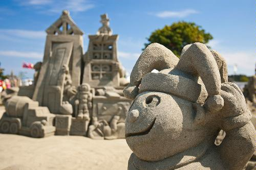 Sand sculpture in sandcastle competition, Parksvile, Vancouver Island, British Columbia.