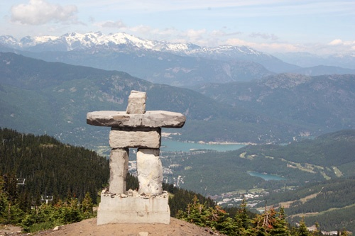 "Top of mountain looking over Whistler Village and the 2010 Olympic Symbol, The Inukshuk. Photo by <a href=""http://www.frommers.com/community/user_gallery_detail.html?plckPhotoID=2905a715-b284-4219-a938-38f68c21dade&plckGalleryID=c0482941-0d2d-4cca-b8c4-809ee9e20c72"" target=""_blank"">Cheryl Lenheiser/Frommers.com Community</a>."
