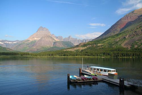 Dock overlooking the harbor, Glacier National Park, Montana