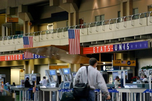 Customs gates at Calgary International Airport.