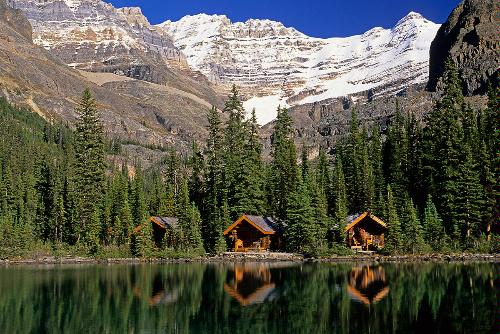 Cabins, Sargent's Point, Lake O'Hara, Yoho National Park, British Columbia.