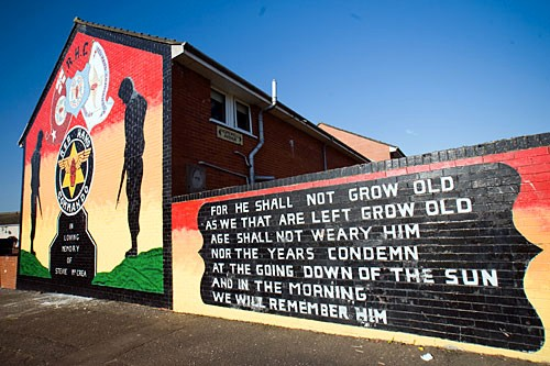 Colorful murals tell of their neighborhoods' political convictions and turbulent histories.