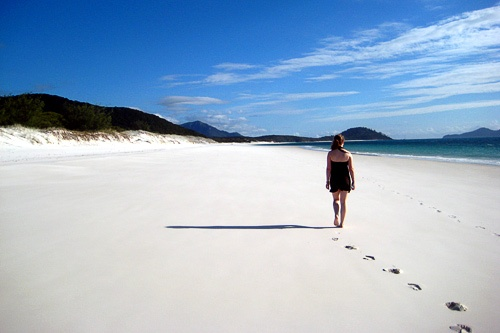 Whitehaven Beach on Whitsunday Island, Queensland.