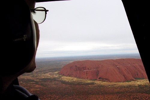 Aerial view of Ayers Rock in Uluru-Kata Tjuta National Park, Australia.