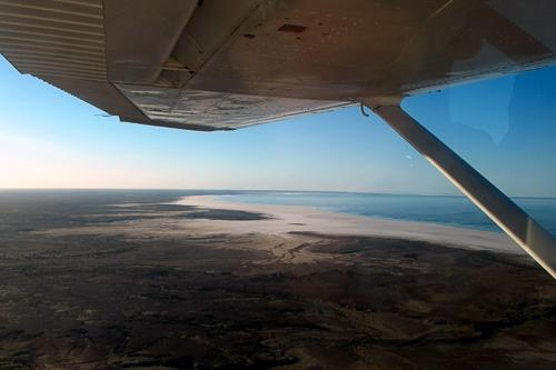 Approaching Lake Eyre by air.