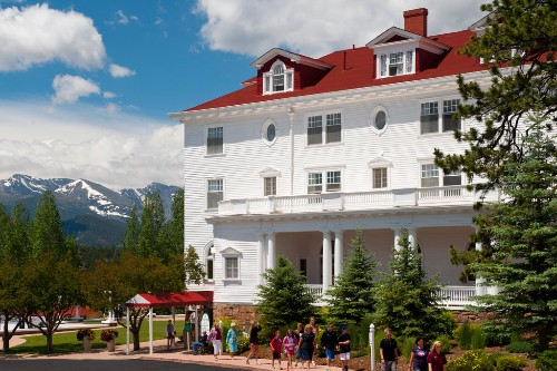 "A ghost tour underway at the famous Stanley Hotel, which inspired Stephen King to write ""The Shining."""