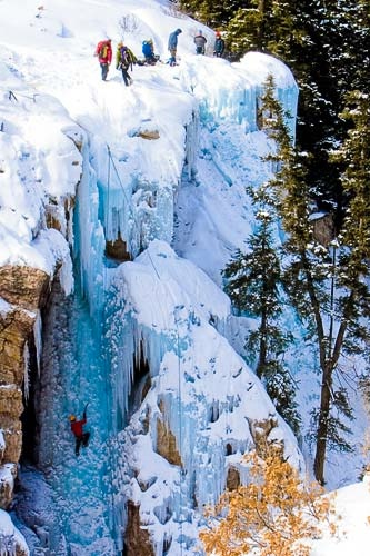Ice climbers on an ice wall in Ouray, Colorado. Courtesy Matt Inden/Weaver Multimedia Group