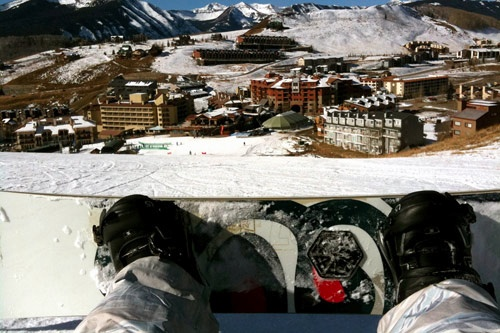 Snowboarding at Crested Butte Mountain Resort.