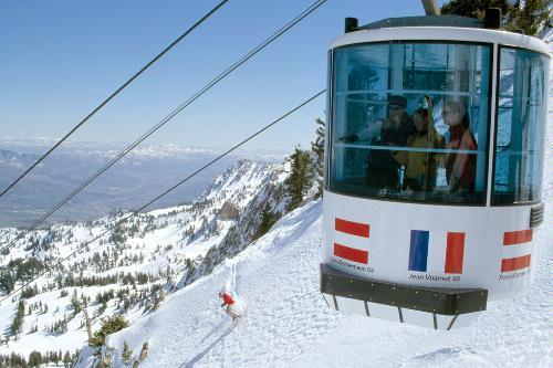 Skiers taking the Mount Allen Tram at the Snowbasin Resort in Huntsville, Utah.