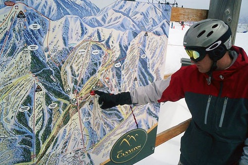 Trail map at the Canyons, the biggest resort in Utah.