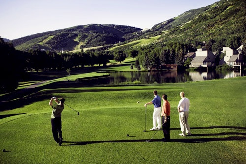 Golf with a mountain scenery background in Park City. Photo by Mike Tittel