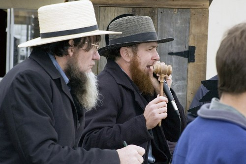 Auctioneer at an Amish mud sale, Lancaster, Pennsylvania.