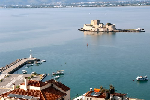 Nafplion, Greece, with the castle of Bourtzi in the harbor.