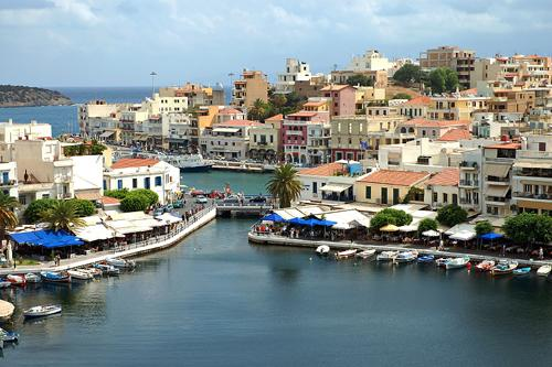 Panorama of Agios Nikolaos (or Ayios, Aghios) town in Crete, Greece