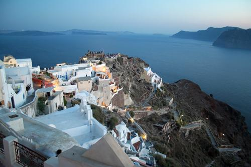 Landscape panorama and sea in Oia at dusk, Santorini