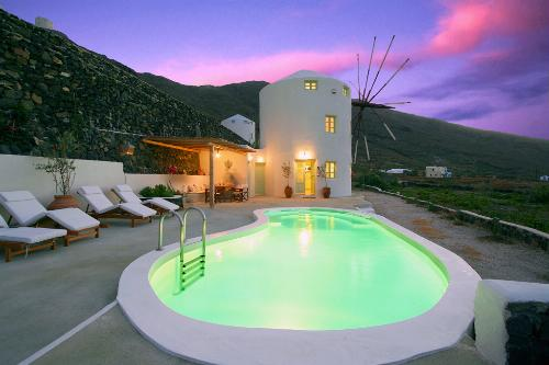 Green Windmill, a converted windmill villa in Santorini.