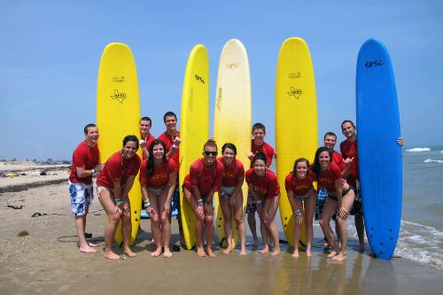 Students at South Padre Surf Company, South Padre Island, Texas.