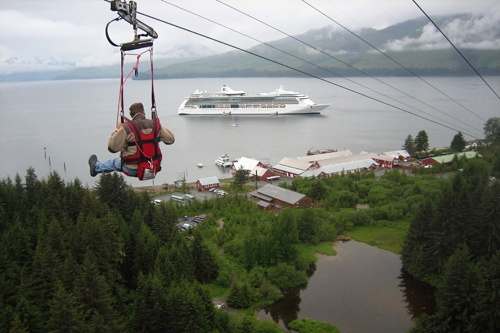 Flying through the air uninhibited with one cruise ship docked off shore at Icy Strait Point, Alaska. Photo courtesy of Icy Strait Point.