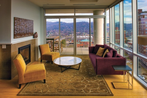 View of the Blue Ridge Mountains at the Hotel Indigo, Asheville. Photo courtesy Hotel Indigo