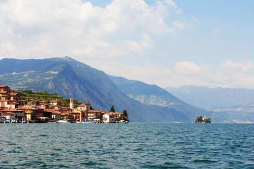 Lake Iseo and the island of Loreto, Lombardy.