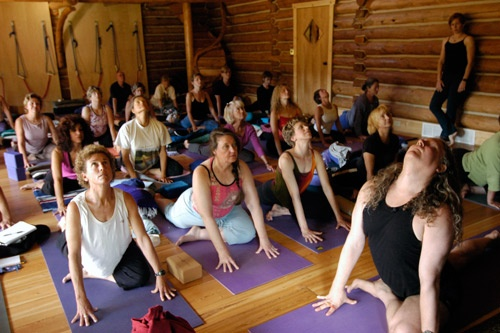 Instructor Erich Schiffmann teaching at Feathered Pipe yoga retreat. Photos courtesy Feathered Pipe Ranch