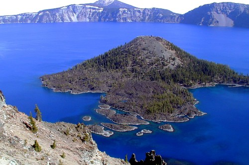 Wizard Island at Crater Lake National Park.