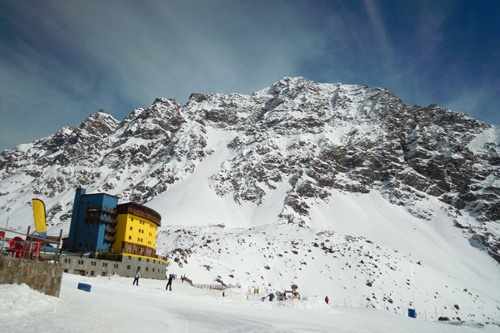 Typical view from one of the base chair lifts of the Portillo Lodge.