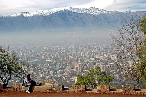Looking out over Santiago, Chile from San Cristobal Hill.