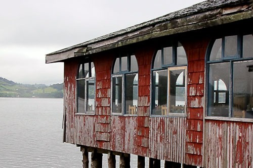 Typical building structure (palafito) on Chiloe island in Chile.