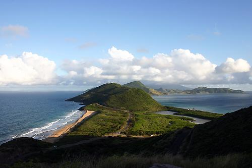 A view of St Kitts with the Caribbean on the right and the Atlantic on the left