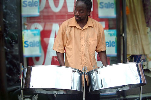 A steel-pan player on High Street in Trinidad and Tobago.