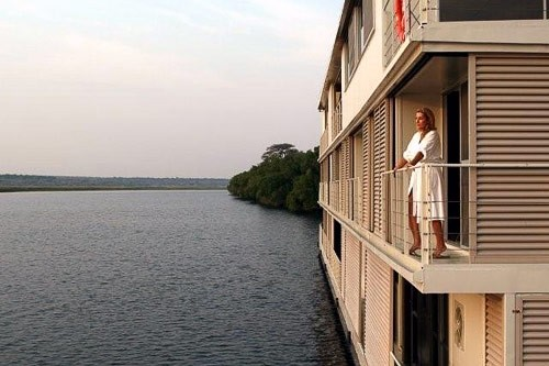 Zambezi Queen on the Chobe River, bordering Botswana and Namibia.