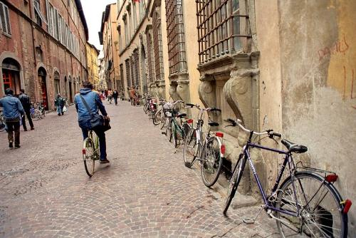 A cyclist on the winding streets of Lucca.