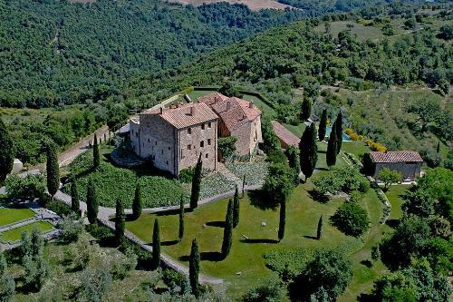 Aerial View Of Castello Di Vicarello And Vineyard In Cinigiano